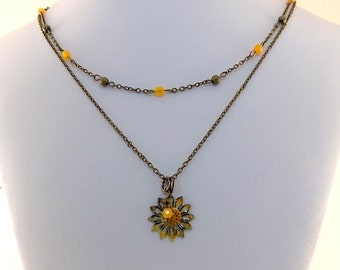 Rustic Enameled Flower Necklace - Orange Necklace - Double Necklace - Brass Necklace - Antique Brass Necklace -Boho Necklace -Daisy Necklace