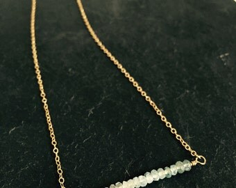Ombre Aquamarine Bar Necklace, Sterling Silver or 14k Gold-Fill