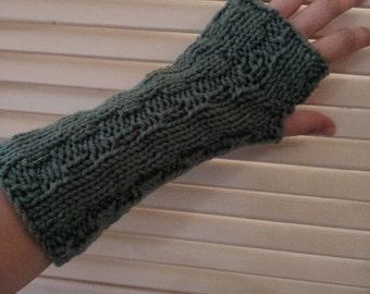 Womens Knitted Fingerless Gloves / Sage Green / Hand Knit Arm Warmers/ Handmade Wrist Warmers