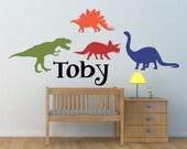 Dinosaurs Custom Personalized Name Vinyl Wall Art Decal Sticker