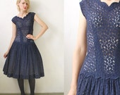 50s party dress. full circle dress. 50s lace dress - xs, small