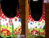 Umhängetasche große Tasche handgeschöpfte Baumwolle Stoff Tasche Umhängetaschen Beutel GNOMEVILLE Michael Miller Gnomen Pilze rot weiße Punkte
