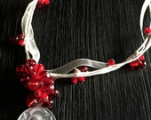 Handmade  Red Bead Cluster and Ribbon Necklace with Vintage Madonna and Child Medal