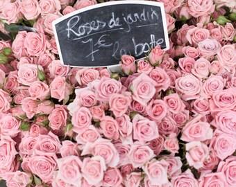 Paris Photograph - Market Roses de Jardin, Paris Flower Market, Pink Romantic French Home Decor, Large Wall Art