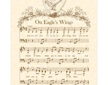 On Eagle's Wings - Hymn Wall Art Custom Christian Home Decor VintageVerses Sheet Music Inspirational Wall Art Sepia Brown By Michael Joncas