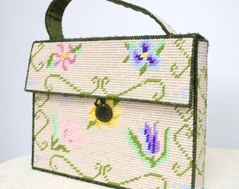 Vintage Handbag Needlepoint Purse Vintage Handstitched Handbag Floral On Canvas Tote