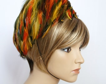 Feather Hat Fabulous Hat Pill Box Hat Vintage Felt Velour Fall Colorful Hat