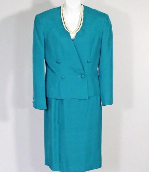 Vintage Suit Women's Austin Reed 1980's Suit Teal Silk Designer Suit  Jacket and Skirt Size 4 Business Office  Wear