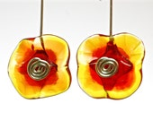 Glass flower earrings fall foliage colors lampwork glass and silver floral earrings bright fire colors handblown glass flowers by paulbead