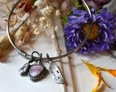 Wampum Drop Silver Bangle Bracelet