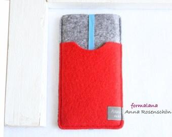 grey case felt red bag earphones for iPhone 4 5 6plus mobile Samsung HTC LG
