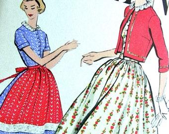 RARE  * 1950s  Vogue  Pattern 9420   -  Ladies' High Fashion  Dress, Bolero and Apron  * Size 16 * Bust 36 * UNCUT