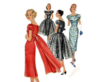 1950s Dress Pattern Shelf Bust Sheath Dress with Back Drape Full Overskirt Puff Sleeves Simplicity 1832 Bust 36 Vintage Sewing Pattern