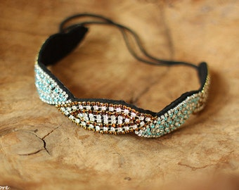 Black, Turquoise and Gold Headband, Women Beaded Headband, Women Headband, Bohemian Headband, Indie, Women Accessories, Gift for Her