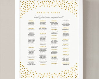 INSTANT DOWNLOAD | Printable Seating Chart Poster Template | Gold Dots | Word or Pages | 18x24 | Editable Artwork Colors