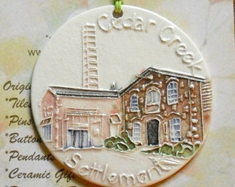 Cedar Creek Settlement textured ornament with free gift wrap