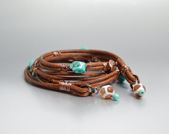 Brown Leather Wrap Bracelet, Bohemian Turquoise Bracelet, Boho Jewelry, Leather Wrap Beaded Bracelet, Hippie Jewelry