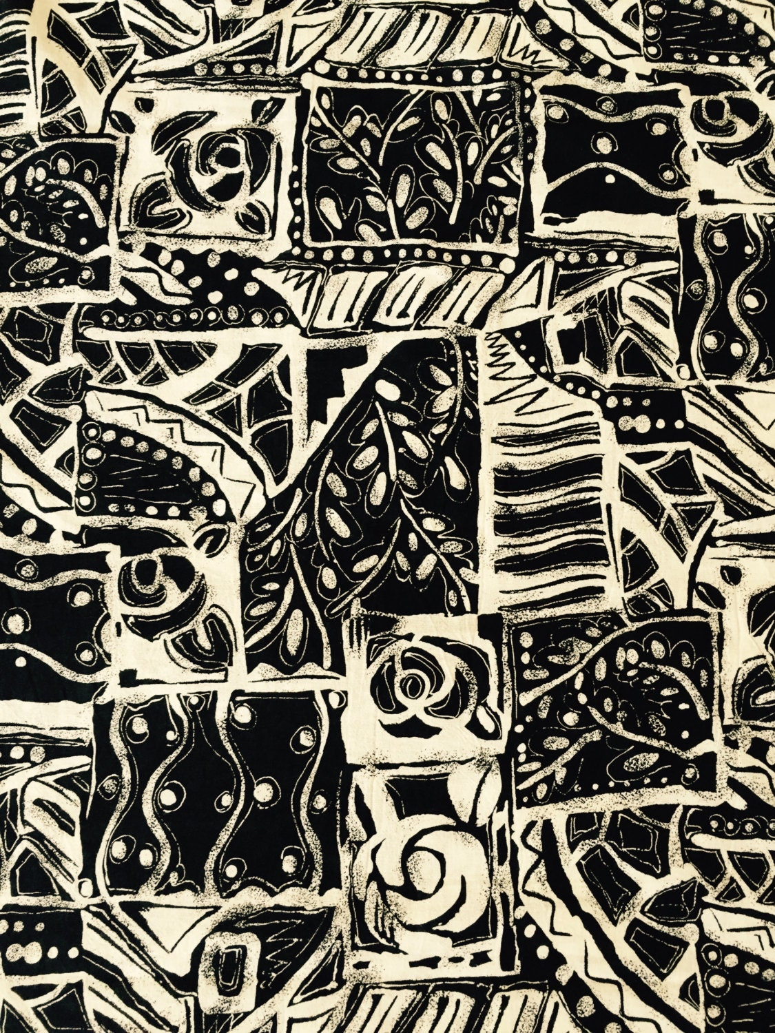 """80s Bold and Beautiful Black & White Abstract//Marimekko Like Print//Cot/Linen Blend//BTY - BTY// 58"""" Extra Wide for Home Decor Use"""