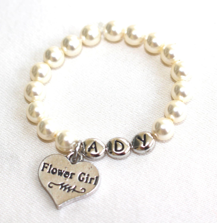 flower girl bracelet personalized flower girl t by TopsailWinds