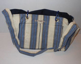 Megan Carry-All in cream, blues and gold stripe taffeta with a navy blue lining