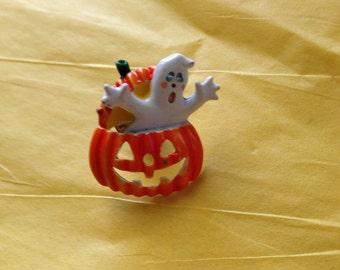 Halloween Tack Pin Pumpkin Jack-O-Lantern Ghost Orange White Enamel