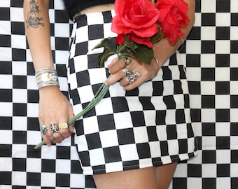 Checked Mini Skirt / Checkered Mod Miniskirt Sz XS S M