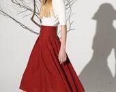 high waisted skirt, Midi skirt linen skirt women skirt (1155)