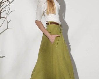 Linen skirt long skirt women skirts linen skirt custom made  (1153)