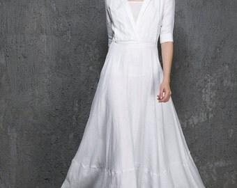 White maxi dress, long white dress, white linen dress, Maxi linen dress, womens dresses, custom dress, half sleeve dress, V neck dress 1326
