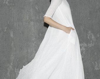White dress, linen dress, maxi dress, womens dresses, long dress,  prom dress, summer dress, casual dress, made to order (1305)