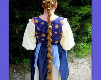 Renaissance faire costume wig hair extension custom color braid plait fall accessory belly dance ren fair long Wavy princess wig extension