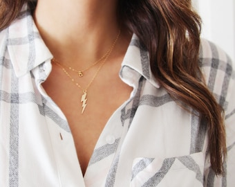 Lightning Bolt Necklace 14kt Gold Filled or Sterling Silver