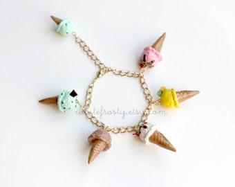 Miniature Fake Food Ice Cream Cone Charm Bracelet