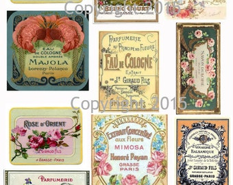 Printable French Vintage Perfume Labels Collage Sheet 106.  Instant Digital Download, Flowers, Scrapbook Embellishments