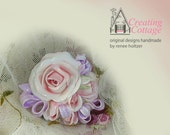 Lilac Ribbons Surround A Pink Centered Rose and Rosebuds  -  Cabochon - Applique - Pin  -  Brooch
