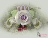 Lilac Rose with Rosebuds, Ribbons and Swirls - Cabochon - Applique - Pin  -  Brooch