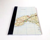 UK British Road Map #1 - Cornwall - A5 Recycled Paper Map Notebook / Travel Journal / Sketchbook with Upcycled Blank Pages