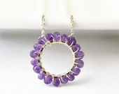 Birthstone Circle Necklace / Amethyst Circle Necklace / Wire Wrapped Beaded Necklace / Sterling Silver Amethyst Jewelry