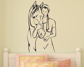 Horse Wall Decal Pony And Rider Vinyl Wall Decal Girls Room Teen Girl Bedoom Decor Wall Art Mustang College Dorm Room Western 15 X 27 inches