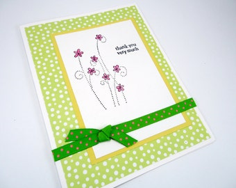 Thank you card, greeting card, thank you very much, all occasion, wedding thank you, birthday, floral card, green yellow pink, polka dots