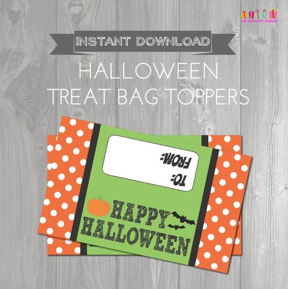 Halloween Treat Bag Toppers - Printable Happy Halloween ...