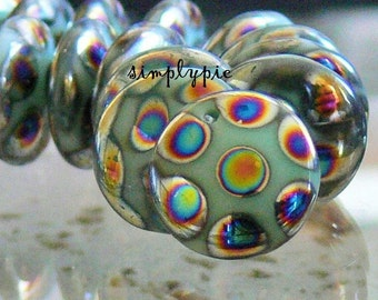 Turquoise Peacock Drop Lentil Czech Beads 12mm 10 Pcs Top Drilled Coin Glass Beads