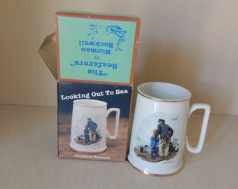 "Norman Rockwell Porcelain Large Tankard with Box. The Seafarer's Collection ""Looking Out To Sea""  Mug in Box."