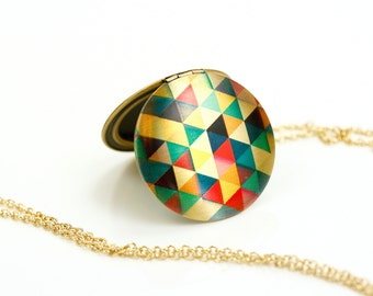 Triangles Colorful Locket, Geometric Image Locket, Large Neon Pendant, Long Necklace, Graphic Jewelry, Colorful Pendant, Image Locket