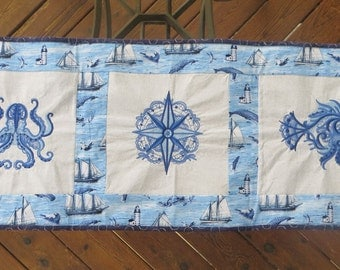 Great for a Beach House Aquatic-Themed Table Runner Embroidered in Shades of Blue with a Glow-in-the-Dark Backing