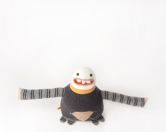 Abbott the sweater monster plush monster stuffy made from up cycled wool sweaters ugly doll