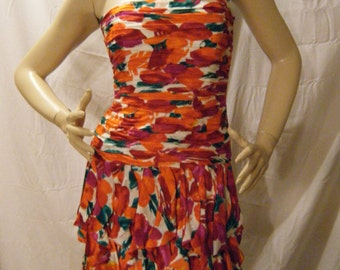 Vtg 1980s 90s Bright Floral Silk strapless Mini dress size 4 S XS
