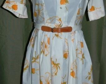 1950s Cos Cob Shirt Waist  Dress Full Skirt Vintage Floral Dress