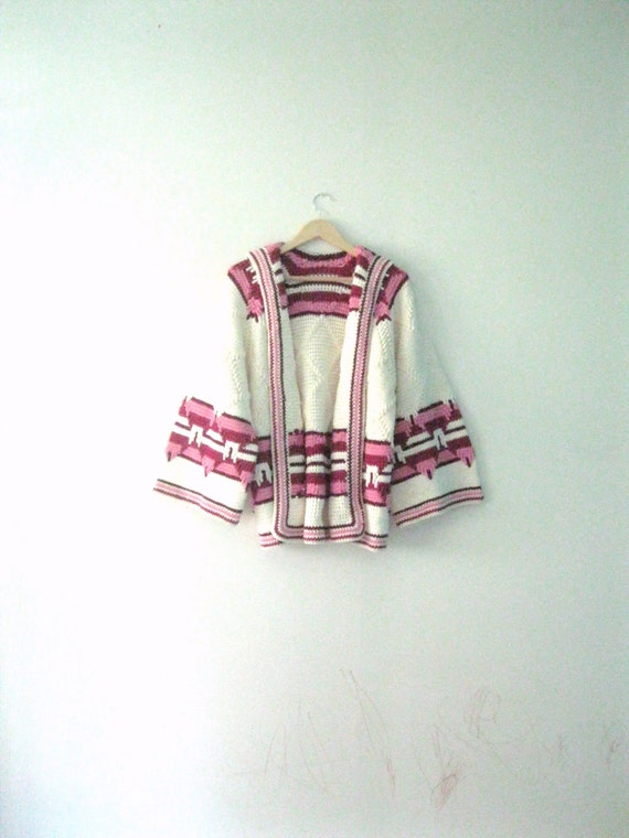 Vintage 70s Hippie sweater / Southwest inspired knit sweater /  wide bell sleeves wrap Boho cardigan