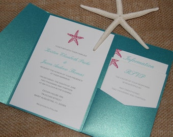 Peacock & Pink Pocketfold Wedding Invitations - Beach Wedding Invitation- Shimmer Invitation - Tropical Wedding DEPOSIT to get started